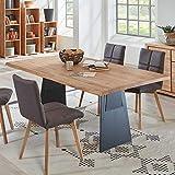Pharao24 Esszimmer Tisch aus Eiche Massivholz und Metall Breite 200 cm Ohne Verlängerbar um je Ohne Ansteckplatten