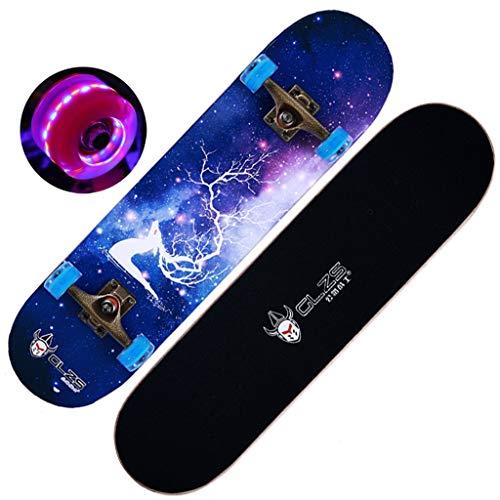 GuanMun 31 Zoll (80 cm) Skateboard Flash 4 Räder 8 Schicht Maple Deck ABEC-9 Hochgeschwindigkeitslager Profi und Anfänger Erwachsene Teens (Farbe : Starry Sky elk) - Skateboard Decks 9 Blank