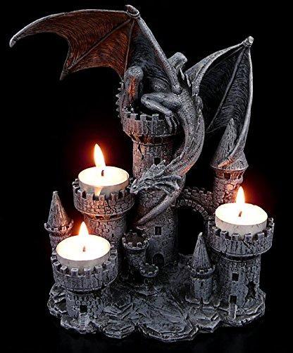 Drachen-Teelichthalter - Vier Burgtürme mit Drache (Figuren Drachen)