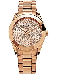SO & CO New York Madison Women's Quartz Watch with Rose Gold Dial Analogue Display and Rose Gold Stainless Steel Bracelet 5067.3