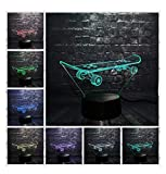 Y.H_Super Veilleuses 3D 3D Skateboard Cool Sport LED Veilleuse Bureau lampe de table...