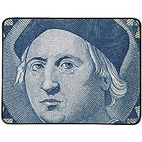 JEOLVP Cristóbal Colón Retrato en Bahamas Una Estera de Manta portátil y Plegable de 60x78 Pulgadas