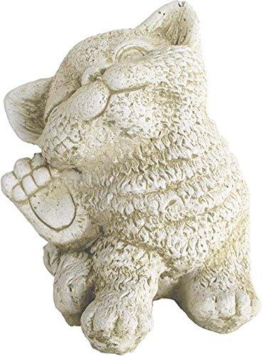 Statue chaton patte levée en pierre reconstituée