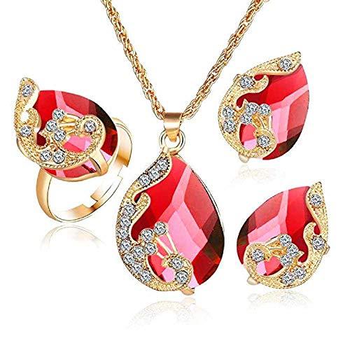 Sets Plattiert Gold Kostüm Schmuck - Scpink Angebote Halskette + Ohrringe + Ring Schmuck Set Womens Mixed Style Bohemia Farbe Bib Kette Schmuck (Rot)