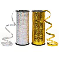 Zauber 2 Pièces Ruban Ballon 91 Mètres Rubans Curling Attache Ballon pour Mariage Fêtes, Fioritures, Artisanat et Emballage Cadeau