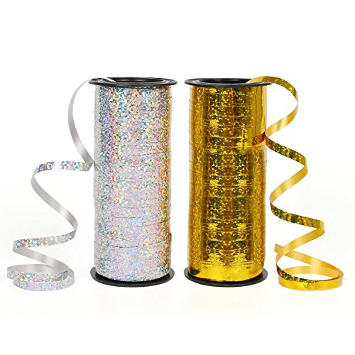 Zauber Geschenkband Polyband Silber Gold Geschenkbänder für Luftballons,Geschenkverpackung und Partei(Gold & Silber)