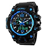 QBD Boy's Large Analogue Digital 50M Waterproof Sport Watch Multifunction LCD Back Light Shock Resistant (Blue)