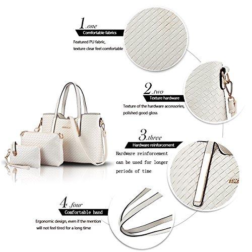 Tisdain Nuovo modello Femminile Borsa a mano Moda Portafoglio tessere Set di 7 borse Borsa messenger bianco