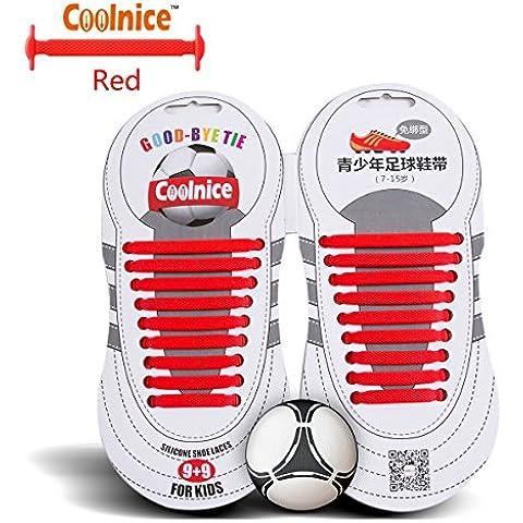 Coolnice Sport lacci elastici No Tipo Tie - forma piatta, Macchia resistente Colore Rosso, silicone ambientali sicuro - Teenager