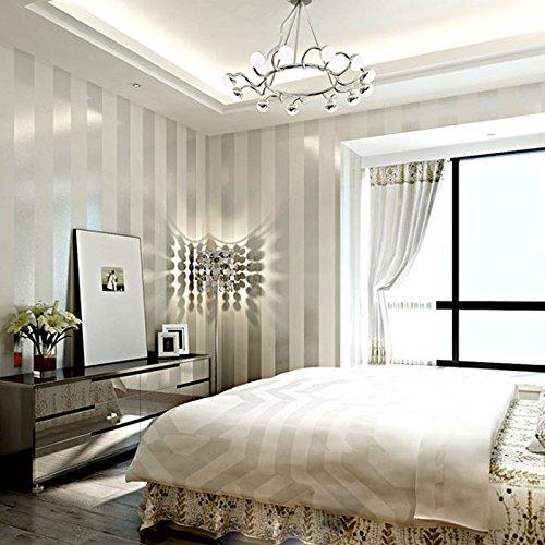 Carta da parati non tessuta a righe verticali minimalista moderna KeTian per soggiorno camera da letto 0.53 m (1.73 \'P) x 10 m (32.8\' L) = 5.3 m 2 (57 piedi quadrati) (crema e argento)