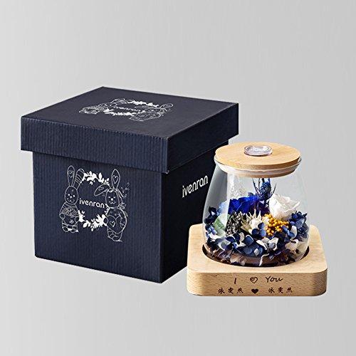 Boîte de cadeau fleur éternelle,Constellation Ornements de verre Roses Eclairage à distance Noël Créatif-A 12x13cm(5x5inch)