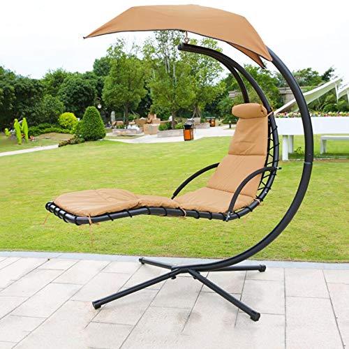 SHIYN Hanging Lounge Chair Outdoor-Hängematten, Wasserdichter Sonnenschutz, Outdoor/Indoor Hanging Chaise Lounge Chair Gartenterrasse Hängesessel Mit Arc Stand,Beige