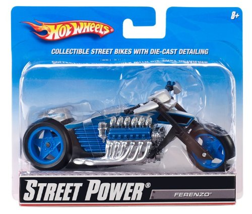 Hot Wheels Mattel - R1089 - Vehicule sans Piles Motos 1/18 - Street Power Ferenzo - Gris/Bleu