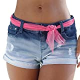 Jeans Hosen Für Damen Kurz Luckycat Shorts Damen Sommer Washed Water Gradient Denim-Shorts S/M/L/XL Shorts Hose Sommerhosen Pants Hosen (Blau, Small)