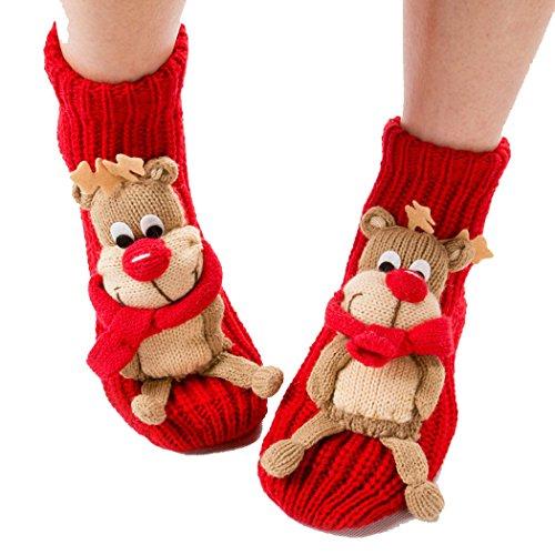 Coxeer Weihnachtsstrumpf Socken Weihnachten Socken Antirutsch Haushalt Boden Socken für Damen (Elk)