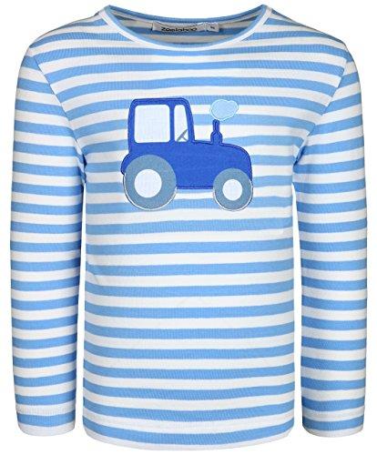 zoolaboo Langarmshirt Jungen Traktor Tobi, Gestreift in Weiß/Mittelblau, Größe 104