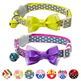 Blueberry Pet Pack of 2 Cat Collars, Square Dots Adjustable Breakaway Cat Collar with Bow Tie & Bell, Neck 23cm-33cm