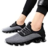 MäNner-Flache Spitze-Oben Sport Maschen-Schuh-Haltbare Rutschfeste Helle Turnschuhe Men Sports Shoes Breathable Wear-Resistant Non-Slip Sneakers Atmungsaktive Herren Sneaker(Grau,42)