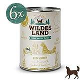 Wildes Land | Nassfutter für Hunde | BIO Huhn | 6 x 400 g | mit Amaranth | Getreidefrei & Hypoallergen | Extra hoher Fleischanteil von 60% | 100% zertifizierte Bio-Zutaten | Beste Akzeptanz und Verträglichkeit