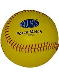 Wilks Force - Pelota de sófbol de cuero de prácticas infantil (11,5 cm), amarillo
