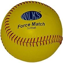 Wilks Force Match - Pelota de cuero de sófbol (11,5 cm), amarillo