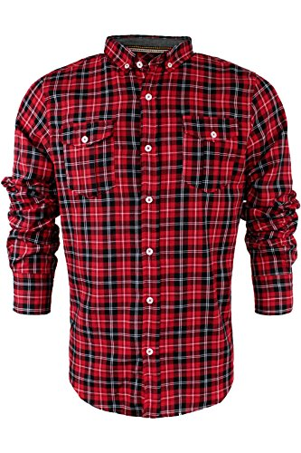 Brave Soul - Chemise casual - Avec col - Manches Longues - Homme Cone | Red Black White Combo