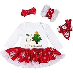 BabyPreg Niñas bebés Mi Primera Navidad Traje de Santa del Partido del Vestido 4PCS (Árbol, S/3-6 Mes)