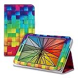 kwmobile Custodia per Huawei MediaPad T1 7.0/Honor Play Tablet T1 - Cover protettiva per tablet Copertina sottile tab - Smart Case Design cubi arcobaleno multicolore verde blu