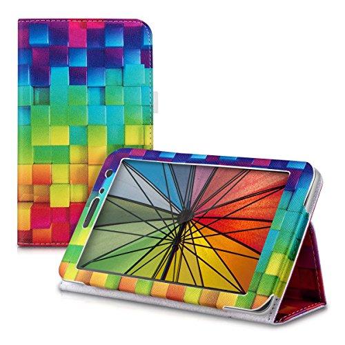 kwmobile Hülle kompatibel mit Huawei MediaPad T1 7.0 - Slim Tablet Cover Case Schutzhülle mit Ständer Mehrfarbig Grün Blau