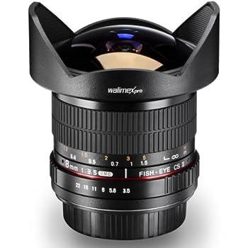 Walimex Pro 8 mm 1:3.5 DSLR Fish-eye II lens for Sony Alpha mount bayonet lens, black (with removable lens hood)