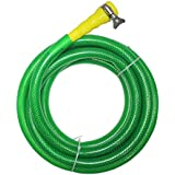 "TechnoCrafts PVC Braided Hose For Floor Care 5 Meter (16.5 Feet) 3/4"" (0.75 Inch Or 19mm) Bore Size - 3 Layered Hose Pipe With 1/2"" Tap Connector & Butterfly Clamps"