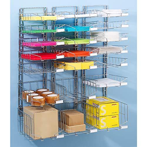 Stahldraht-Korb-Sortierablage - Wandmodell, dreireihig, mit 21 Körben - Ablagesysteme Postsortierstationen Postsortieranlagen Körbe zur Postsortierung Ablagefächer Drahtablagen Körbe Ablagekörbe