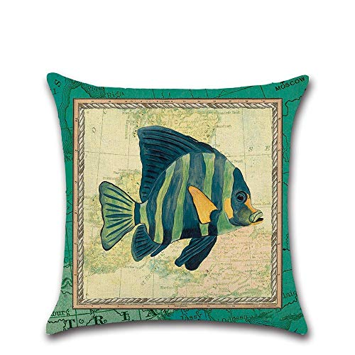 FANZAO Kissenbezug,Meerestiere Fisch Grün Cartoon Drucken 45 * 45 cm Kissenbezug Bettwäsche Throwkissen Auto Home Dekoration Dekorativ Kopfkissenbezug (Cartoon-kissenbezüge)