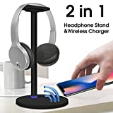 Likorlove Headphone Stand with Wireless Charging, 2in1 Fast Charging Dock and Headset Mount Wireless Charger, Quick charging for Samsung Galaxy Note8, S8, S8+, S7 Edge, S7, S6 Edge Plus, Note5, Normal standard charging for iPhone X, 8, 8 Plus(Black)