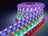 16.5ft 5m Waterproof SMD 5050 RGB LED Strip Tape Light Flexible LED Ribbon 5M Waterproof 300leds SMD 44KEY Colours IR Controller + 12V Power Supply AC Adapter. Ideal For Gardens, Homes, Kitchen, Under Cabinet, Aquariums, Cars, Bar, Moon, DIY Party Decoration Lighting (strip with 24 keys remote & adapter)