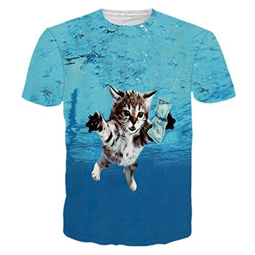 HWHColor Männer Frauen Katzenschwimmen Caught Geld T-Shirt Lustiges Grafik T-Shirt (Grafik Herren T-shirt Crewneck)