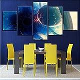 ljtao Modernes Zuhause Wandkunst Dekor Rahmen Bilder 5 Stücke Planeten Kollision Schwarzlicht Ball Abstrakte Landschaftsmalerei Leinwand Poster-40Cmx60/80/100Cm-Frame