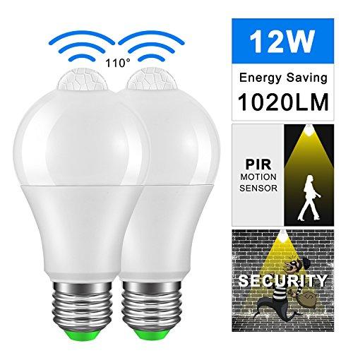LED Lampe mit Bewegungsmelder, Frontoppy 12W E27 Warmweiß 3000K Licht PIR Sensor,Automatische Ein/Aus Nachtlicht für Treppen, Garage, Tor, Garten, Hof (2 Paquete) -