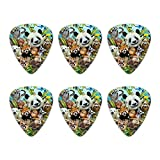 Animal Buddies Selfie Panda Eisbär Faultier Lemur Toucan Neuheit Gitarre Plektrum Plektron Picks Stärke Medium – Set of 6