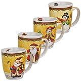 matches21 Tassen Becher Weihnachtstassen Keramik liebevolle Weihnachtsmotive bunt 4er Set 11 cm / 300 ml