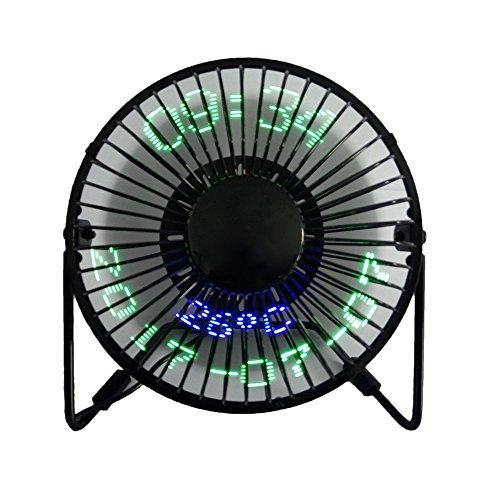 USB-Tischventilator LED Portable Mit Echtzeit-Datum Und Temperaturanzeige Personal 360 ° Rotation Mini Kühlung Durable Für Home Und Office (Metall Design Low Noise 5 Zoll, Schwarz) (Rahmen Motor Lüfter)