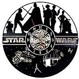 Meet Beauty Ding Horloges murales de disques vinyles créatifs Star Wars - Fait à la Main - Cadeau Unique pour Noël, Hommes, fête des pères et Halloween (12'de Rond Noir)