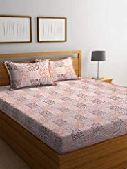 Boutique Bedding Queen Size 100 Cotton 250TC Bedsheet with 2 Pillow Covers (Brown and Peach, 235x225 cm)