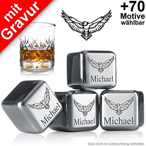 Sterngraf Kühlsteine MIT Gravur Adler + Name ** 4 Wiederverwendbare Edelstahl-Eiswürfel von vacu vin ** Whisky-Steine Ice Cubes Set