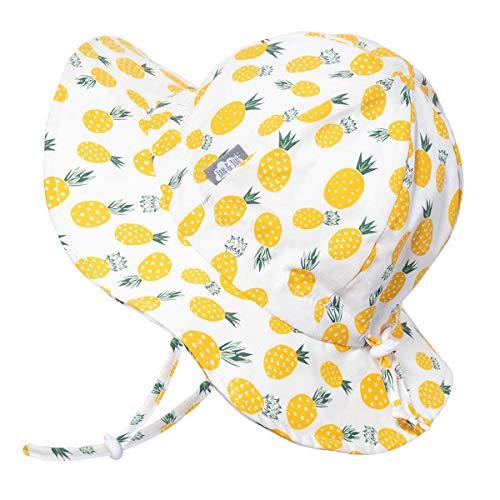 Bezaubernder atmungsaktiver Sonnenhut mit Blumenmuster fürs Baby (Mädchen) 50 UPF, verstellbar, mit Kinnriemen (Klein: 0-9m, Schlapphut: Gelbe Blume)