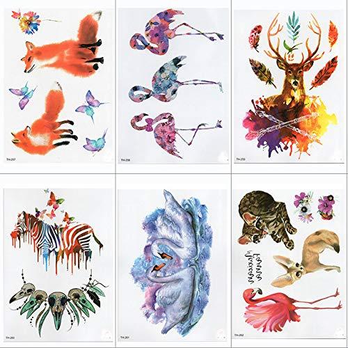 lihaohao Wasserdicht Temporäre Tätowierung Aufkleber Samll Arm Ärmel Tattoo Zebra Tier Voller Blume Tattoo Body Art Tattoo 15X21Cm 6St (Halloween Make-up Zebra-augen)