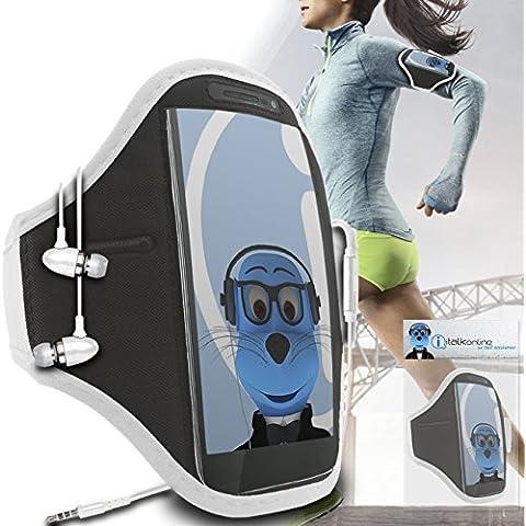 iTALKonline Motorola Droid Turbo 2 Bianco Nero regolabile Acqua / resistente all'umidità Sports GYM Jogging Correre copertura della cassa del bracciale della fascia di braccio con chiave di denaro cuffia Pocket include 3,5 millimetri di alluminio Cuffie Handsfree Mic e On / Off