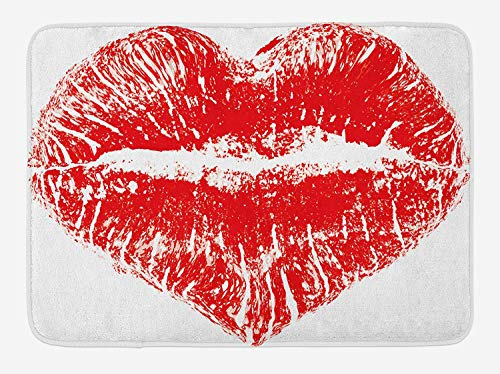 CHKWYN Kiss Bath Mat, Red Lipstick Mark in The Shape of a Heart Expression Passion Romance Sensuality Theme, Plush Bathroom Decor Mat with Non Slip Backing, 23.6 W X 15.7 W Inches, Red White -