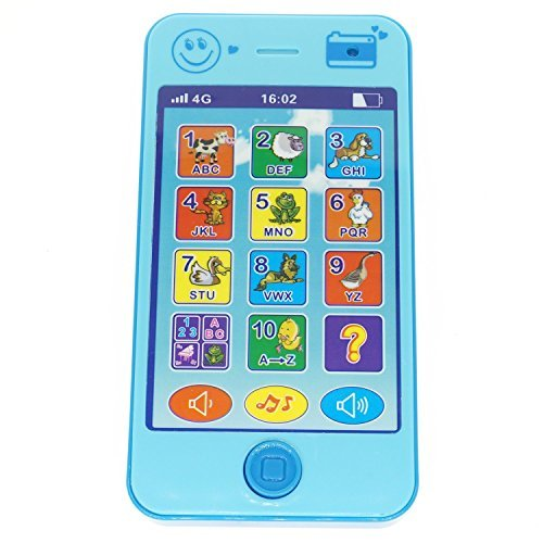 YOYOSTORE Blue Cell Mobile Phone Shape Toy Music Touch Screen Education Learning Game Play Cellphone Like for...