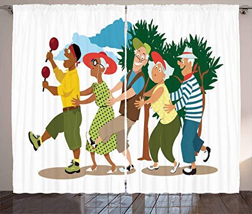 ABAKUHAUS Pensionierung Rustikaler Vorhang, Line Dance Urlaub, Wohnzimmer Universalband Gardinen mit Schlaufen und Haken, 280 x 225 cm, Mehrfarbig (Zuhause Dance Für Stangen)